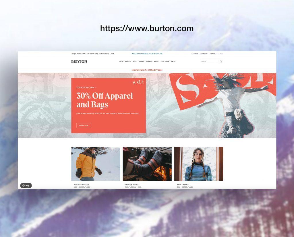 Burton Snowboards website